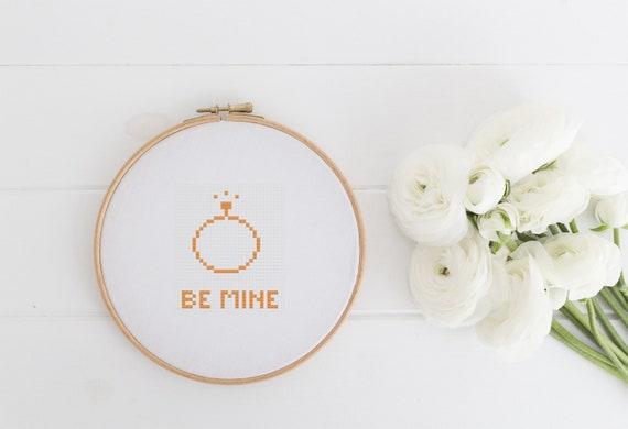 Be Mine Love Marriage Valentine Pattern Chart  - Cross Stitch Pattern - Modern Cross Stitch - Instant Download
