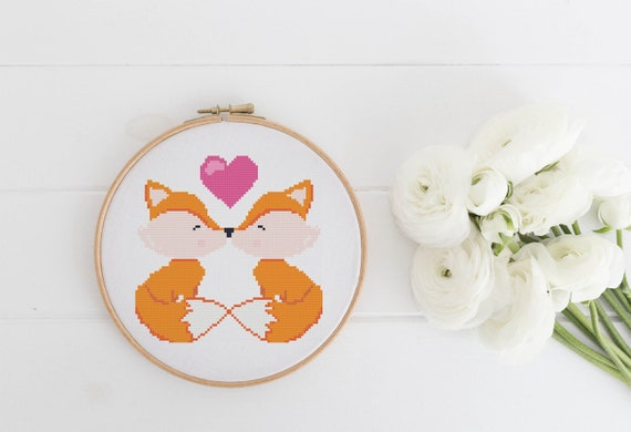 Fox Love - Cross Stitch Pattern - Modern Cross Stitch - Childrens Decor Nursery - Instant Download - Valentine Gift