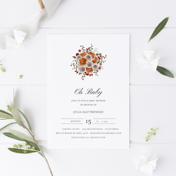 Flower Bouquet White Orange Baby Shower Invitation - Editable Template - 5 x 7 - Card - Editable Invitation Templett - Download DIY