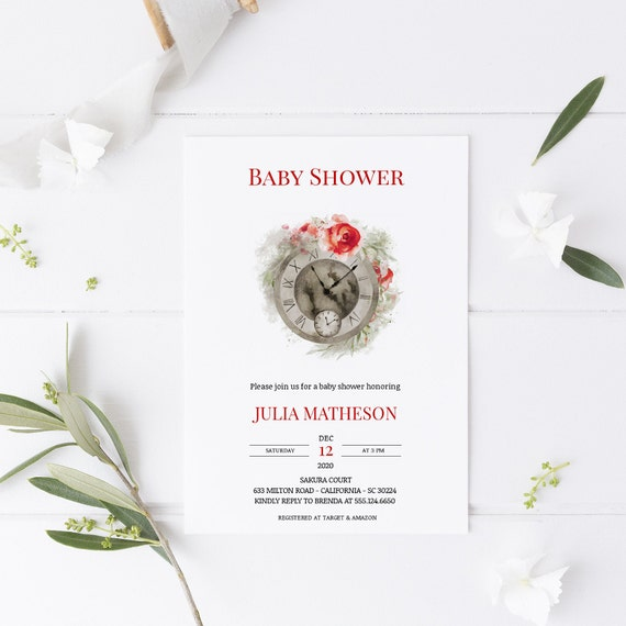 Red Clock Time - Baby Shower Invitation - Editable Template - 5 x 7 - Card - Editable Invitation Templett - Download DIY