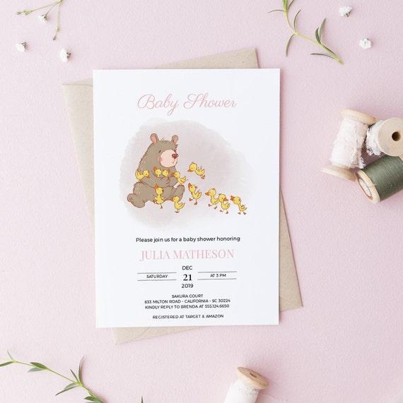 Sweet Bear Ducklings Baby Shower Invitation - Editable Template - 5 x 7 - Card - Editable Invitation Templett - Download DIY