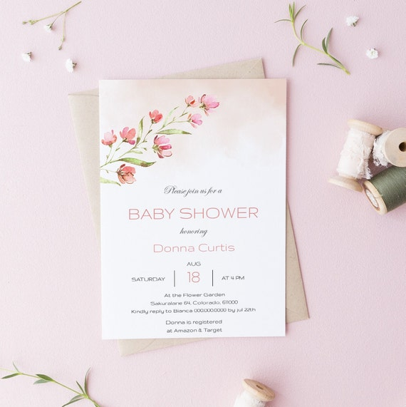Watercolor Flower Bouquet Floral Baby Shower Invitation - Editable Template - 5 x 7 - Card - Editable Invitation Templett - Download