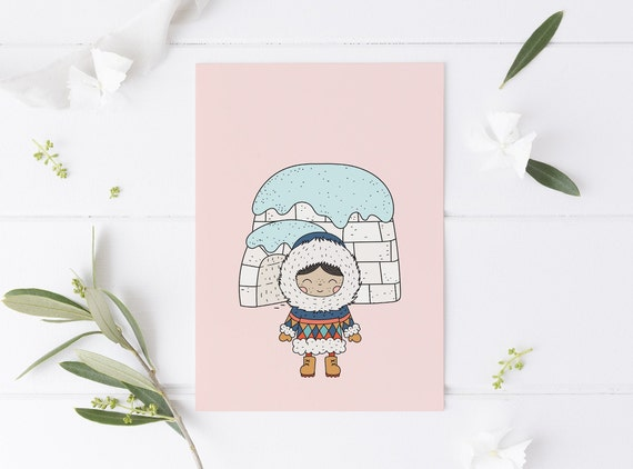 8 x 10 Eskimo Winter Child Decor Print- Nursery Kids Room Baby Wall Art - DIGITAL DOWNLOAD