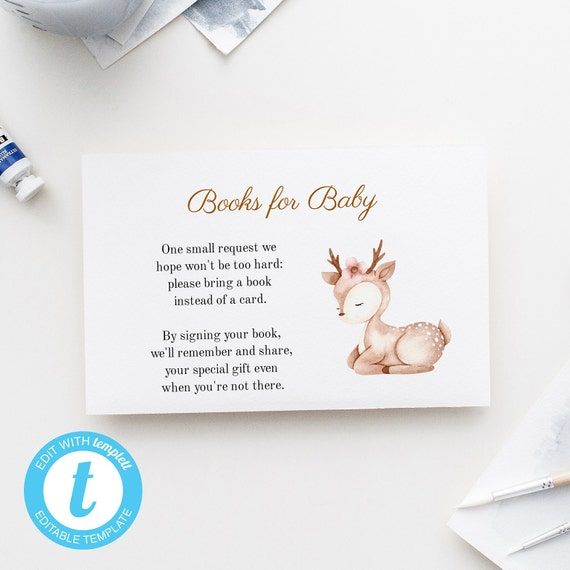 Books for Baby - Watercolor Deer Animal - Editable Template - 5 x 3.5 inch - Edit Yourself Download - Jpeg & PDF options