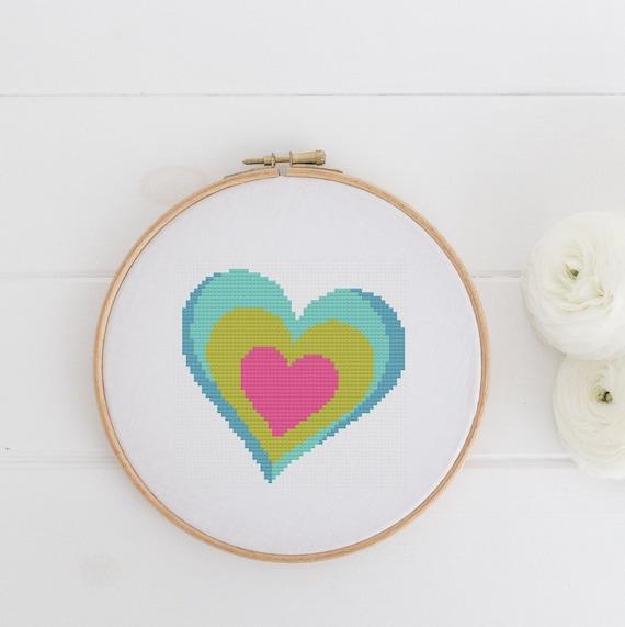 Retro Heart - Modern Boho Chart Cross Stitch Pattern - Modern Cross Stitch - Childrens Decor Nursery - Instant Download -