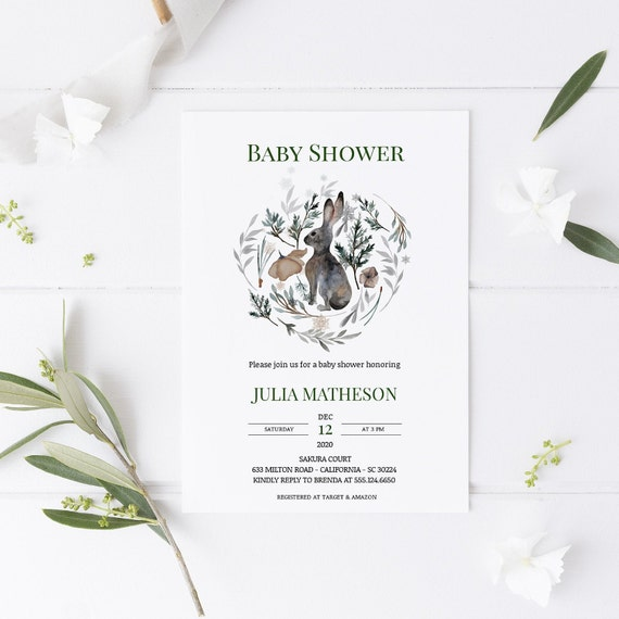 Watercolor Rabbit Leaves Wreath Baby Shower Invitation - Editable Template - 5 x 7 - Card - Editable Invitation Templett - Download DIY