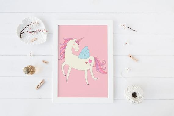 8 x 10 Unicorn Pink 2 Print- Boho Nursery Decor Print Wall Art Baby Kids Childrens Room Printable Decor - DIGITAL DOWNLOAD