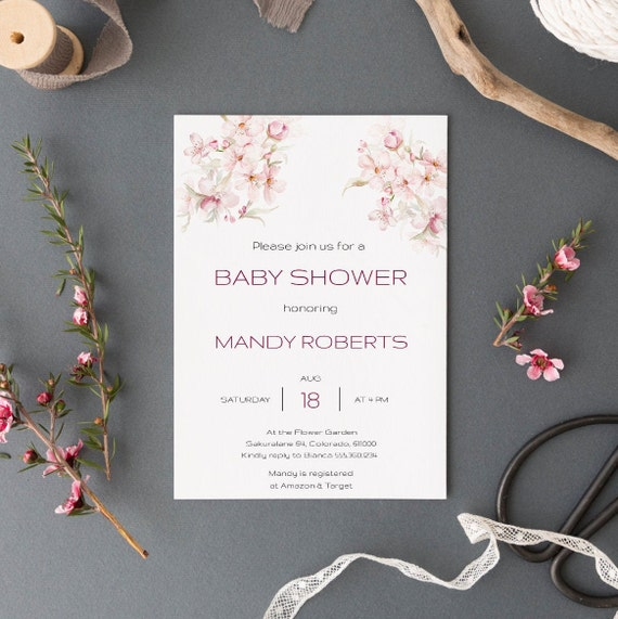 Watercolor Flowers Bouquet Baby Shower Invitation - Editable Template - 5 x 7 - Card - Editable Invitation Templett - Download DIY