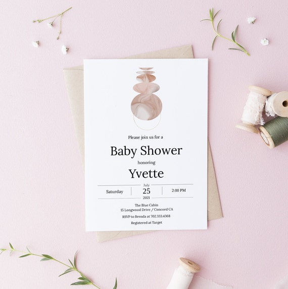 Modern Abstract Celestial Baby Shower Invitation - Editable Template - 5 x 7 - Card - Editable Invitation Templett - Download DIY