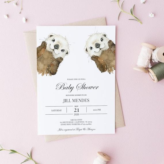 Watercolor Otters Baby Shower Invitation - Editable Template - 5 x 7 - Card - Editable Invitation Templett - Download DIY