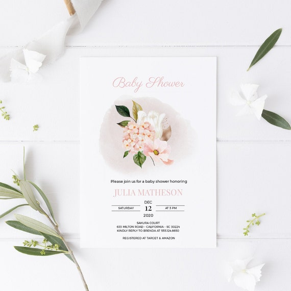 Flower Bouquet Florals Dew Pink Baby Shower Invitation - Editable Template - 5 x 7 - Card - Editable Invitation Templett - Download DIY