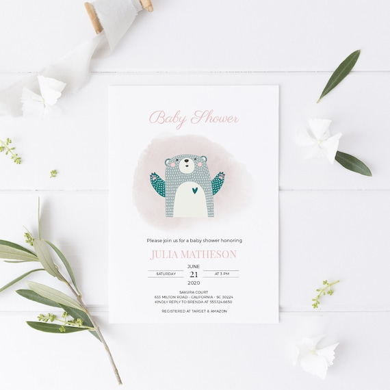 Bear Pink Watercolor Baby Shower Invitation - Editable Template - 5 x 7 - Card - Editable Invitation Templett - Download DIY