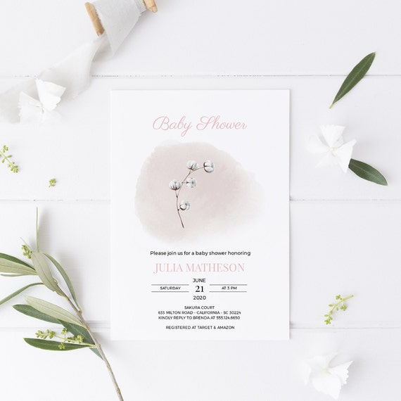 White Flower Cotton Pink Watercolor Baby Shower Invitation - Editable Template - 5 x 7 - Card - Editable Invitation Templett - Download DIY