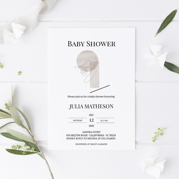 Modern Abstract Baby Shower Invitation - Editable Template - 5 x 7 - Card - Editable Invitation Templett - Download DIY