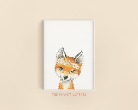 Fox Peekaboo with Flower Crown - Boho Nursery Decor Print Wall Art Baby Girl - Boy Room Printable Decor - DIGITAL DOWNLOAD