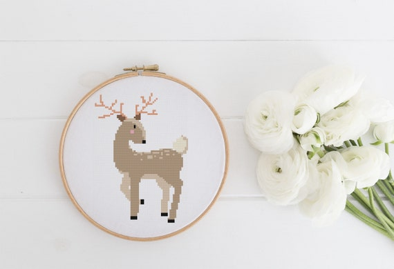 Elegant Deer - Cross Stitch Pattern PDF Instant Download- Modern Cute Cross Stitch - Nursery Decor Needlecraft Pattern Hoop Art