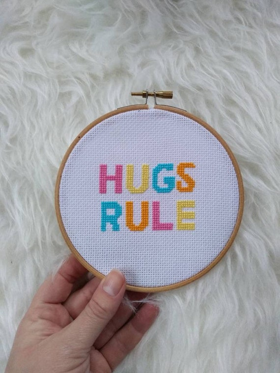 Hugs Rule - Quote - Cross Stitch Pattern - Modern Cross Stitch - Childrens Decor Nursery - Instant Download - Home Decor