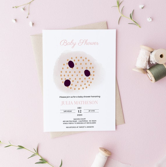 Abstract Art Circles Purple Baby Shower Invitation - DIGITAL FILE - 5 x 7 - Card - Download