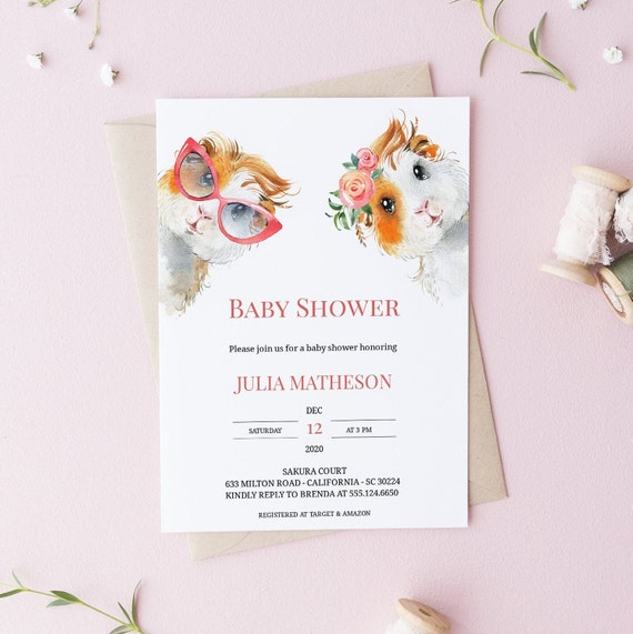Watercolor Guinea Pig Animal Baby Shower Invitation - Editable Template - 5 x 7 - Card - Editable Invitation Templett - Download DIY