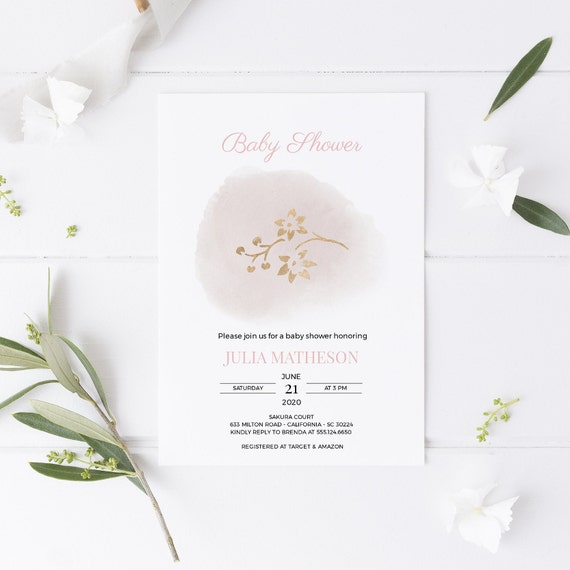 Golden Branches Pink Baby Shower Invitation - Editable Template - 5 x 7 - Card - Editable Invitation Templett - Download DIY