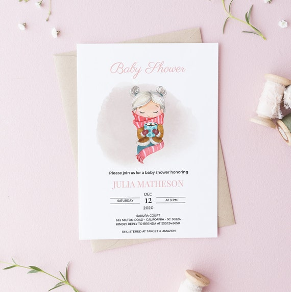 Watercolor Girl Hot Cocoa Winter Baby Shower Invitation - DIGITAL FILE - 5 x 7 - Card - Download