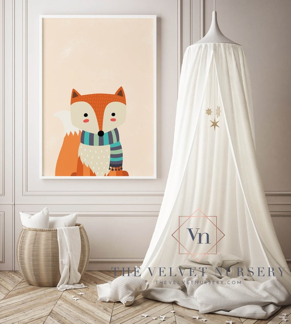 8 x 10 Fox with Scarf - Boho Nursery Decor Print Wall Art Home Decor Baby Girl - Boy Room Printable - DIGITAL DOWNLOAD