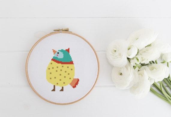 Yellow and Red Bird - Cross Stitch Pattern PDF Instant Download- Modern Cute Cross Stitch - Nursery Decor Needlecraft Pattern Hoop Art