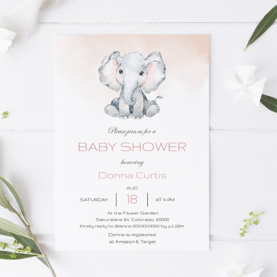Watercolor Elephant Animal Baby Shower Invitation - Editable Template - 5 x 7 - Card - Editable Invitation Templett - Download