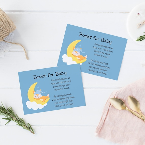 Books for Baby - Sleepy Fox Moon - Editable Template - 5 x 3.5 inch - Card Watercolor - Edit Yourself Download - Jpeg & PDF options