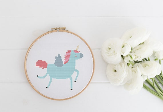 Blue Unicorn - Cross Stitch Pattern PDF Instant Download- Modern Cute Cross Stitch - Nursery Decor Needlecraft Pattern Hoop Art