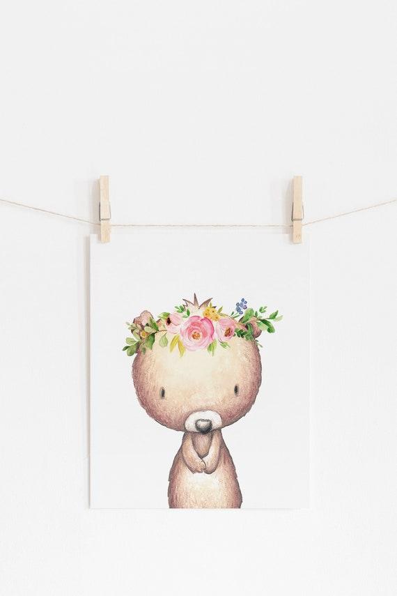 8 x 10 Bear Floral Wreath Flower Crown Nursery Print Decor - Nursery Kids Room Baby Wall Art - DIGITAL DOWNLOAD