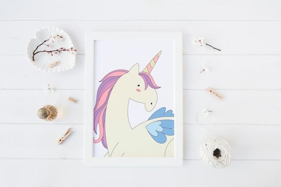 8 x 10 Unicorn Print- Boho Nursery Decor Print Wall Art Baby Kids Childrens Room Printable Decor - DIGITAL DOWNLOAD
