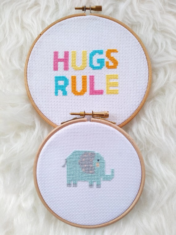 Little Elephant & Hugs Rule - Animal Quote Chart Cross Stitch Pattern - Modern Cross Stitch - Childrens Decor Nursery - Instant Download -