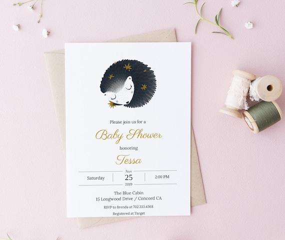 Baby Shower Invitation Sleeping Animal - Editable Template - 5 x 7 - Invitation Card - Edit Yourself Invite Templett Download