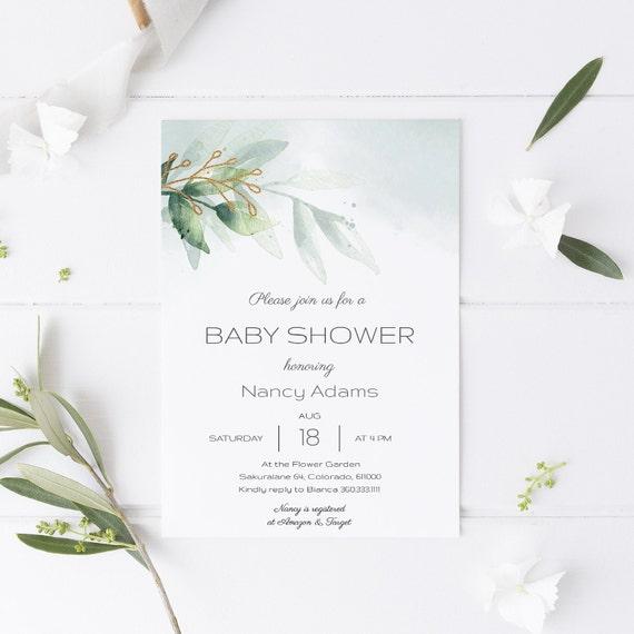 Botanical Elegant Neutral Baby Shower Invitation - Editable Template - 5 x 7 - Card - Editable Invitation Templett - Download DIY