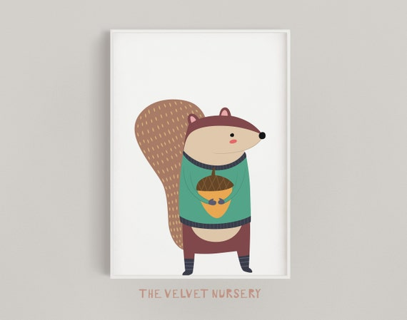 Woodland Squirrel - Nursery Print - Baby Girl / Boy Room - DIGITAL DOWNLOAD