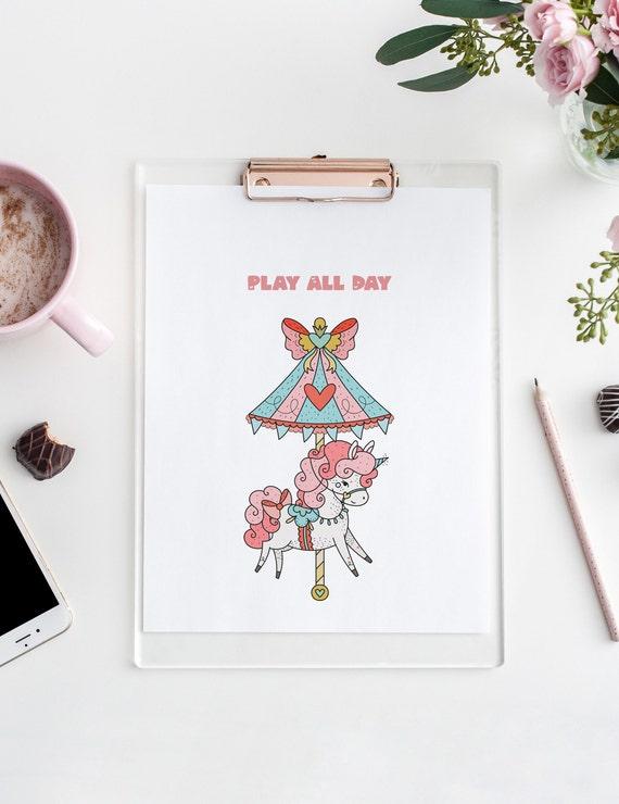 Play All Day Unicorn Carousel Print - Nursery Home Decor Wall Art Baby Girl - Boy Room - DIGITAL DOWNLOAD