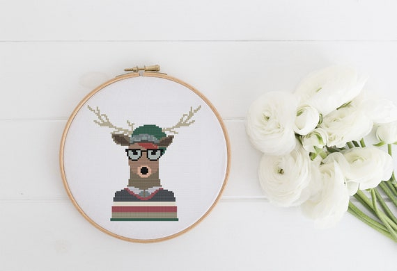 Rustic Stag - Cross Stitch Pattern PDF Instant Download- Modern Cute Cross Stitch - Nursery Decor Needlecraft Pattern Hoop Art