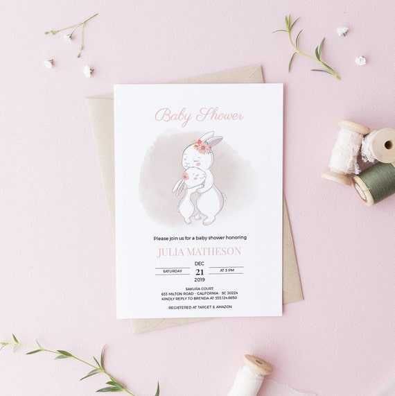 Mother & Baby Bunny Rabbit Animal Baby Shower Invitation - Editable Template - 5 x 7 - Card - Editable Invitation Templett - Download DIY