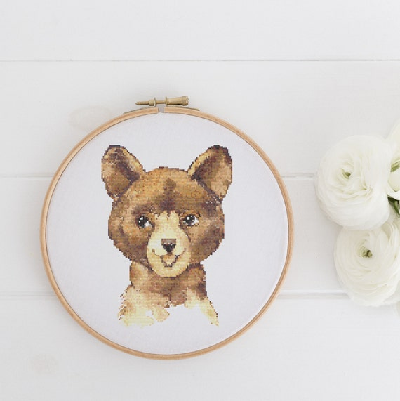 Watercolor Brown Bear Animal Chart - Cross Stitch Pattern - Modern Cross Stitch - Childrens Decor Nursery - Instant Download -