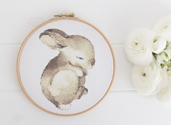 Watercolor Baby Bunny Animal Chart - Cross Stitch Pattern - Modern Cross Stitch - Childrens Decor Nursery - Instant Download -