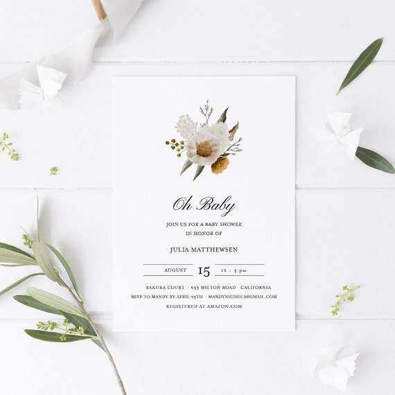 Flower Bouquet White Yellow Baby Shower Invitation - Editable Template - 5 x 7 - Card - Editable Invitation Templett - Download DIY