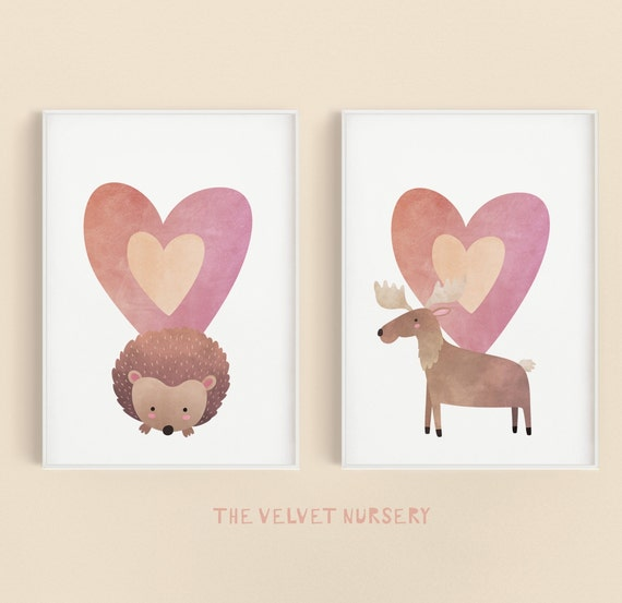 Watercolor Moose Hedgehog Pink Heart Set - Boho Nursery Print Wall Art Home Decor Baby Girl - Boy Room Printable - DIGITAL DOWNLOAD