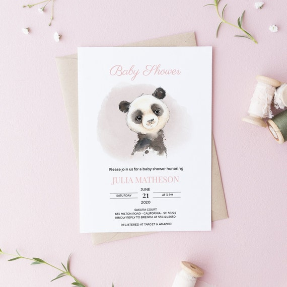 Watercolor Panda Bear Baby Shower Invitation - Editable Template - 5 x 7 - Card - Editable Invitation Templett - Download - DIY