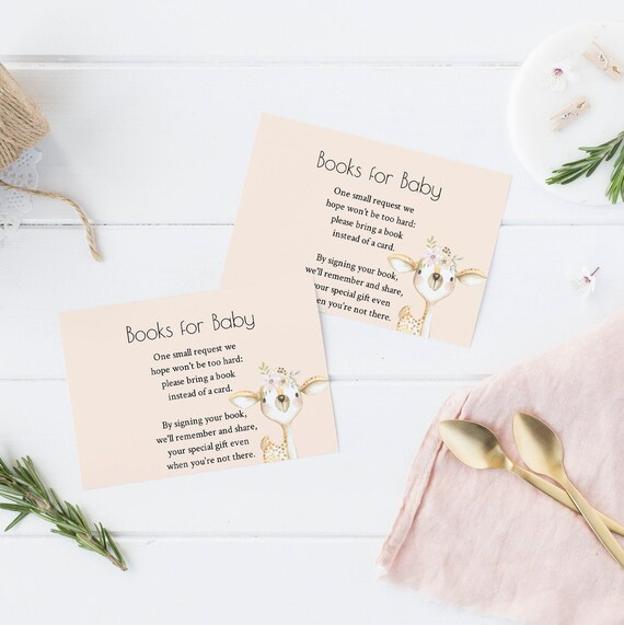 Books for Baby - Deer Flowers Watercolor - Editable Template - 5 x 3.5 inch - Card Watercolor - Edit Yourself Download - Jpeg & PDF options