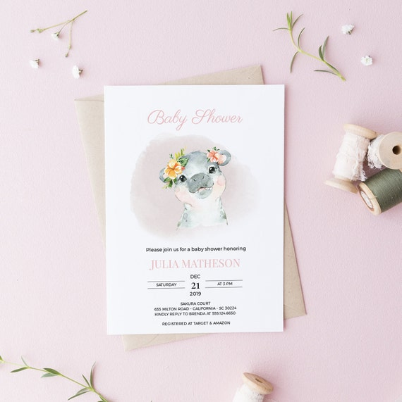 Watercolor Hippo Flower Baby Shower Invitation - Editable Template - 5 x 7 - Card - Editable Invitation Templett - Download