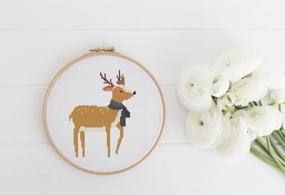 Winter Deer - Cross Stitch Pattern PDF Instant Download- Modern Cute Cross Stitch - Nursery Decor Needlecraft Pattern Hoop Art