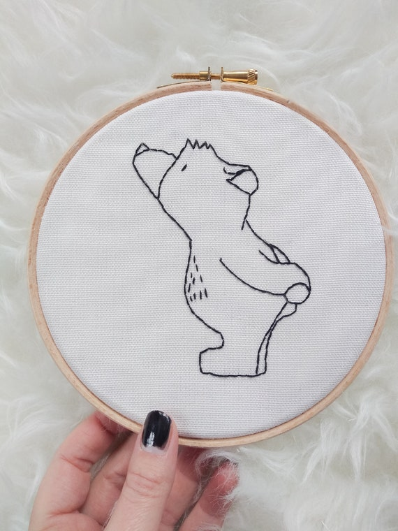 Bear - Embroidery Wall Hoop Art - MADE TO ORDER - Nursery Kids Art- Monochrome