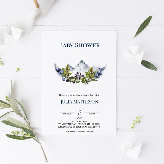 Watercolor Mountain Berries Baby Shower Invitation - Editable Template - 5 x 7 - Card - Editable Invitation Templett - Download DIY