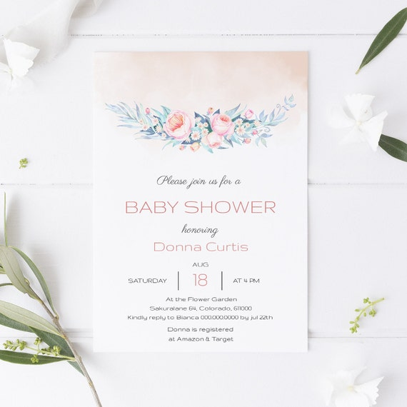 Watercolor Flower Spring Bouquet Baby Shower Invitation - Editable Template - 5 x 7 - Card - Editable Invitation Templett - Download
